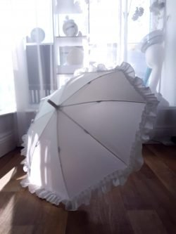 White Kids Umbrella with Frill