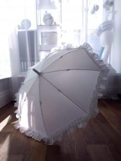 White Kids Umbrella with Frill
